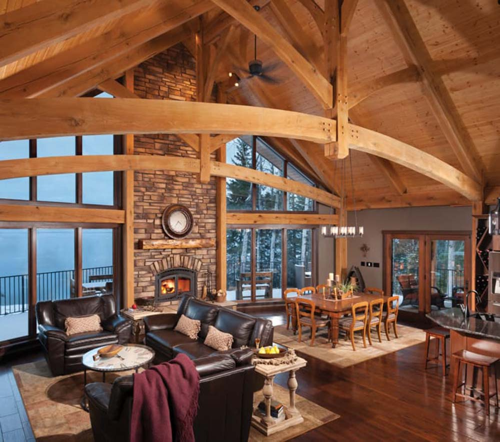 timber frame home interiors. A perfect view of the spacious living area and dining Outstanding Timber Frame Home  Top Homes